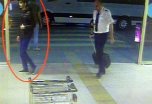 One of the suicide bomber at Istanbul Ataturk International Airport on the security cameras.