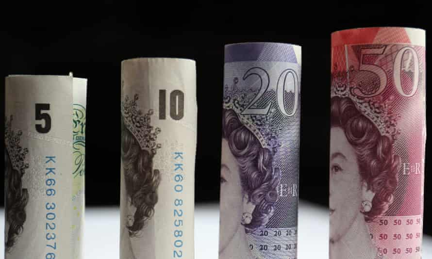 a row of banknotes from £5 to £50