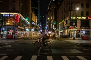 An empty Theater District is seen following the outbreak of the coronavirus disease in New York City.