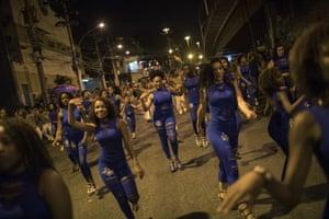 Rio de Janeiro, Brazil Members of the Paraiso do Tuiuti samba school rehearse in the streets of Rio.