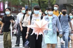 People wearing face masks in Taipei, Taiwan