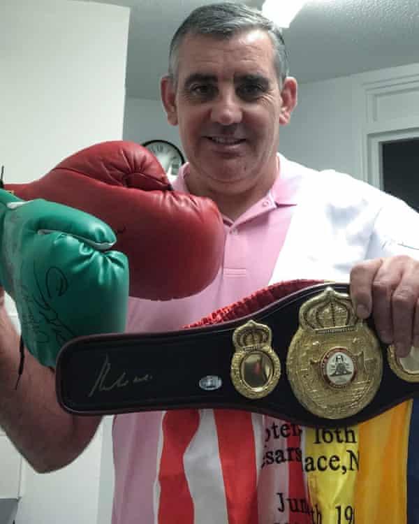 Colin Smith with his boxing memorabilia.