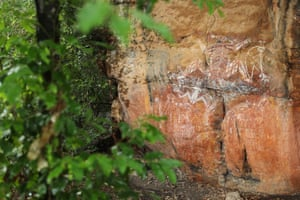 Anbangbang gallery at Nourlangie in Kakadu national park. This artwork includes representations of Namarndjolg (the main figure, centre) and Namarrgon the Lightning Man (right)