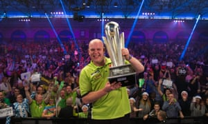 Michael van Gerwen celebrates after winning his second World Darts Championship by beating Gary Anderson.