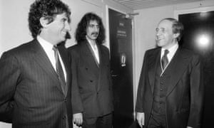 9 January 1984: Pierre Boulez (R) talking with US composer and guitarist Frank Zappa (C) and French Ministre of Culture Jack Lang (L), at the Theatre de la Ville in Paris, where he directed three works of Zappa.