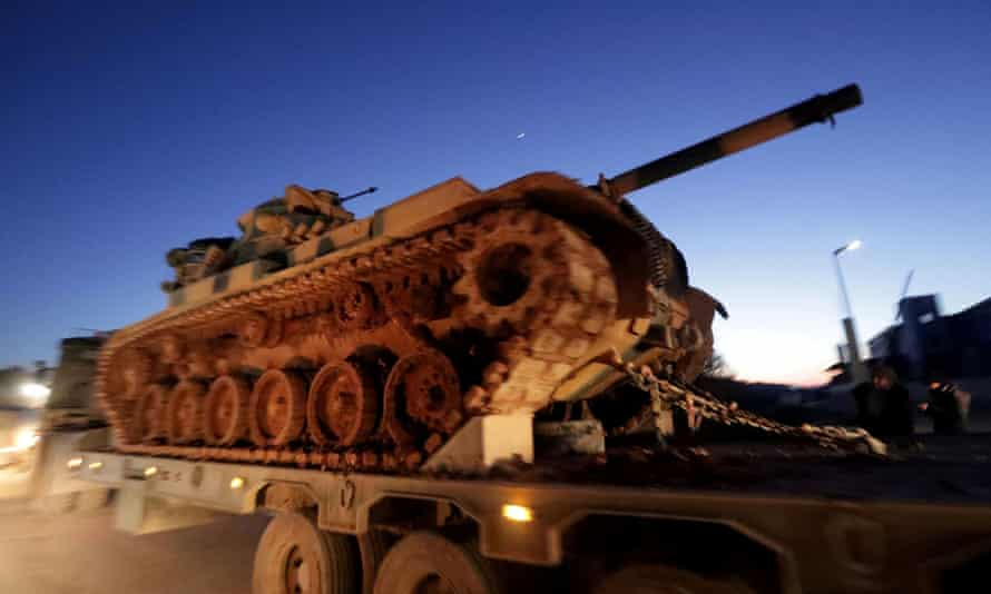 Turkish military vehicles at the Syrian-Turkish border