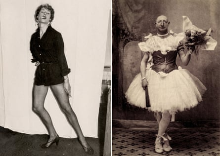 Man dressed as a woman, Mannheim, Germany, c.1960; right, burlesque comedian Crun-Crun in Avignon, France, 1900.