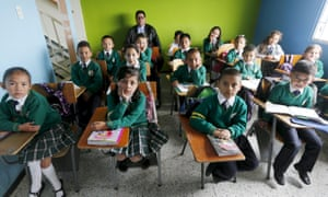 Children at a school in Soacha, near Bogota, Colombia. On a typical school day, about a million pupils eat a meal in the capital city's public schools.