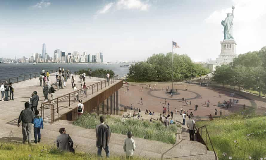 An artist's rendering of the design for the new free-standing Statue of Liberty museum on Liberty Island.