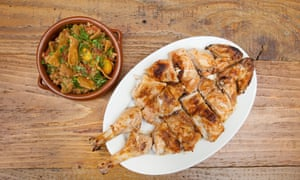 Whole grilled chicken piri piri and African rice