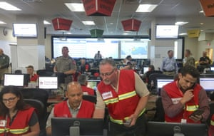 """Emergency officials work at the State Operations Center in Austin in preparation for the impact of Hurricane Harvey. Forecasters warning that evacuations and preparations """"should be rushed to completion."""""""