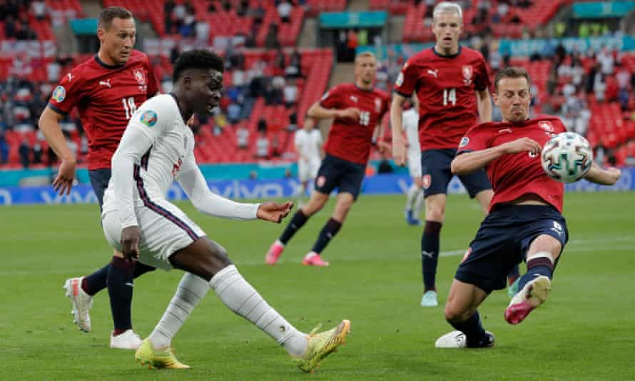 Bukayo Saka caused the Czech defence plenty of problems in his debut at a major tournament.