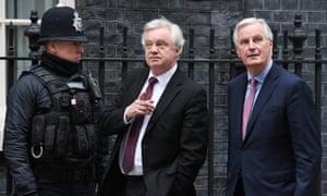 David Davis (middle) said talks with Michel Barnier had been 'very constructive'.