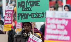 A protest in solidarity with the Windrush generation and against the government's 'hostile environment' immigration policies.