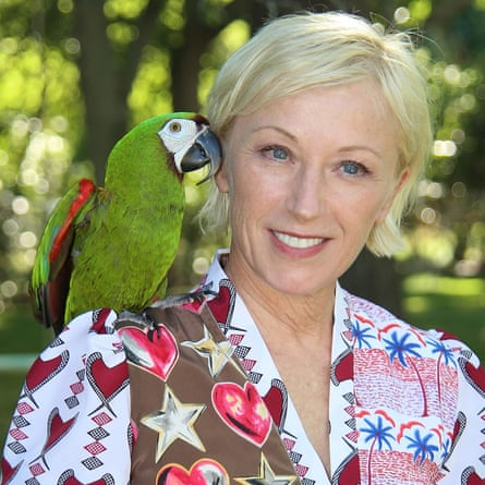 Cindy Sherman and her macaw Mister Frieda in 2014.