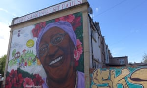 Mural by Michele Curtis of Delores Campbell for the Seven Saints of St Pauls project, honouring the local black heroes of this area of Bristol.