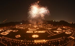 Madan Mohan Malviya stadium decorated with oil lamps in Allahabad, India