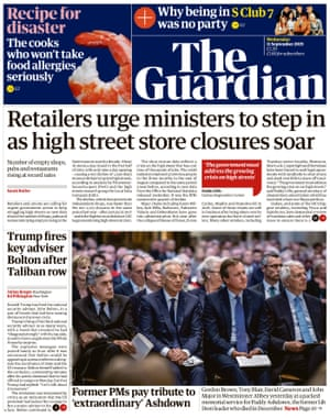 Guardian front page, Wednesday 11 September 2019
