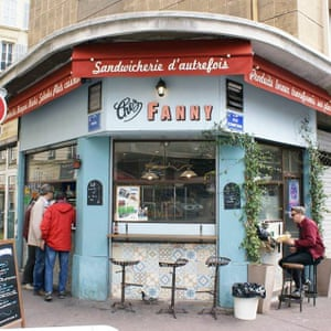 Classic French cafe facade, Chez FANNY, Marseille, France