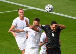 Croatia's Dejan Lovren fouls Czech Republic's Patrik Schick and concedes a penalty.