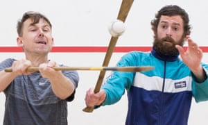 'You get a swagger, you are the chosen ones' … Timmy Creed, right, teaches Tim Jonze hurling as they discuss Spliced, showing at the Edinburgh festival.