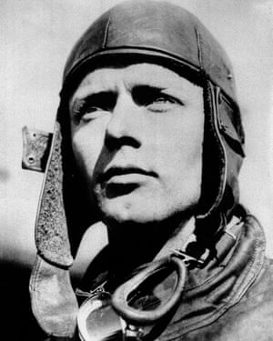 Lindbergh wears a leather flying helmet similar to the one he lost in Paris in 1928.