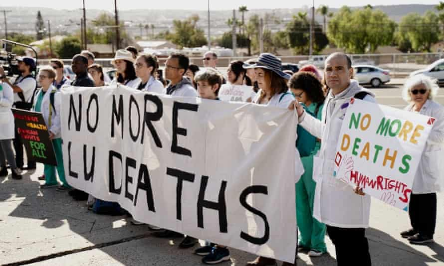 Doctors for Camp Closure attempt to hold a free flu vaccination clinic at a CBP detention center for migrants.