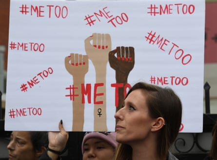 Victims of sexual harassment, assault and abuse and their supporters protest during a MeToo march in Hollywood on November 12, 2017