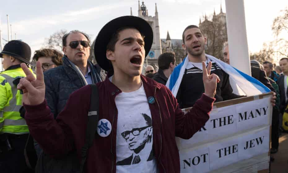 The Jewish Leadership Council and the Board of Deputies of British Jews stage a protest in Parliament Square against antisemitism in the Labour party