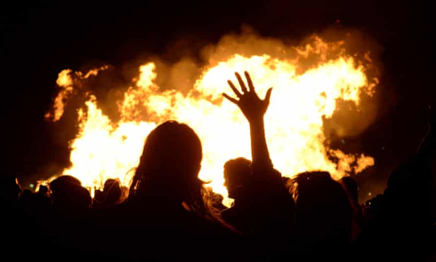 A 5 November bonfire in Lewes, East Sussex.
