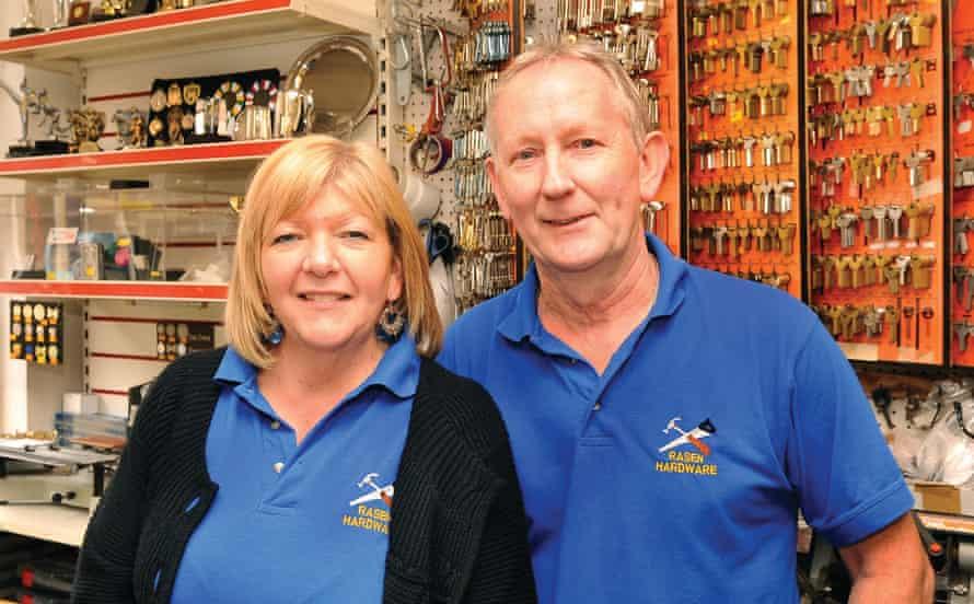 Rasen Hardware shop owners Ken and Sue Greenwood in Market Rasen Lincs