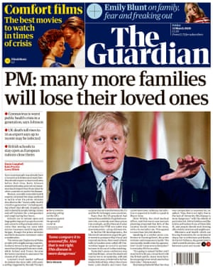 Guardian front page, Friday 13 March 2020