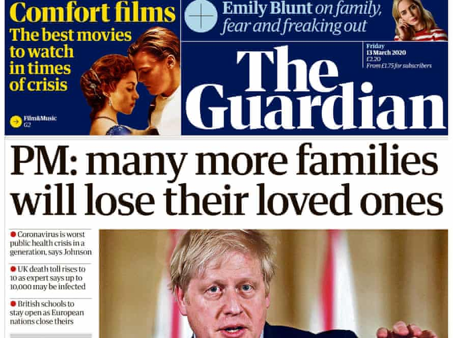 Friday's front page of The Guardian