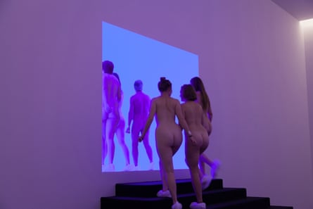 Visitors to the James Turrell show in Canberra.
