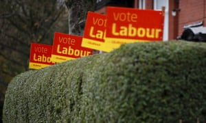 Row of Vote Labour placards