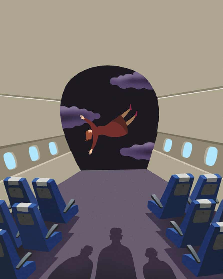 Illustration of woman on a flight in freefall