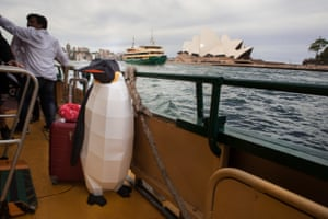 A penguin model visits Sydney, Australia. The idea was originally put forward by the EU and is being backed by Greenpeace. The proposal already has the support of several countries – including the UK – and will go before a conference of the Antarctic nations in October.