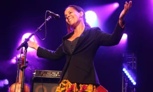 Rhiannon Giddens performs at the Cambridge folk festival, Cherry Hinton Hall, 4 August 2018.