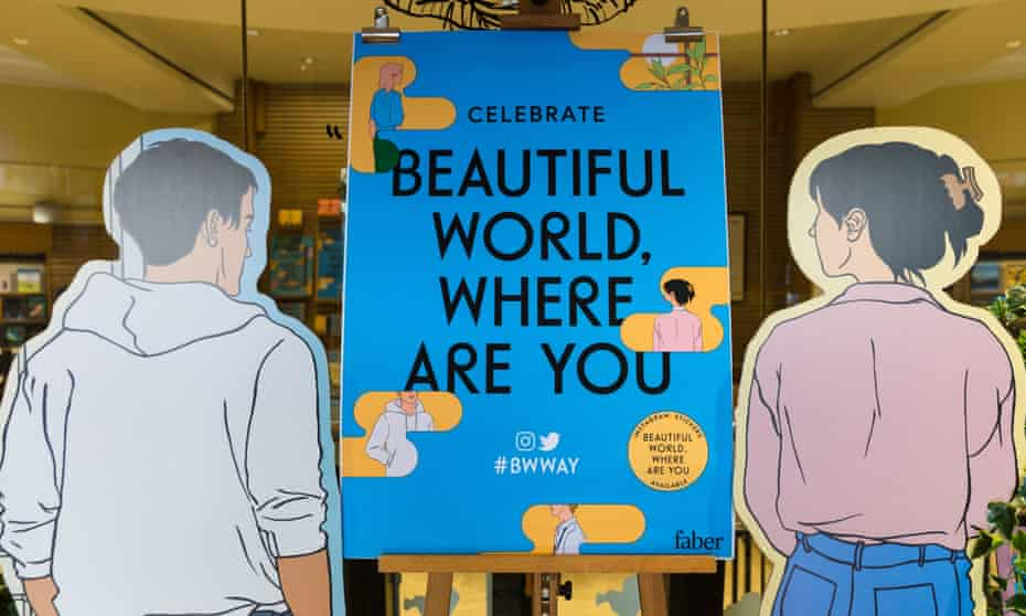 Cardboard cut-outs at the Beautiful World, Where Are You book launch