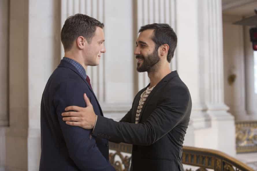 Patrick (Jonathan Groff) and Augustin (Frankie J Alvarez) attend a gay wedding.