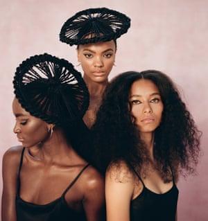 Curl power: three distinctive styles from Charlotte Mensah. Zainab (left) wears sustainable black dress, madebyvoz.com, and earrings, shaunleane.com. Lisa (middle) wears black slip, joseph-fashion.com, and earrings, shaunleane.com. Ruby (right) wears sustainable black dress, madebyvoz.com.