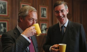 With Nigel Farage. Rees-Mogg used to advocate a coalition with Ukip, but seems to have moved on.