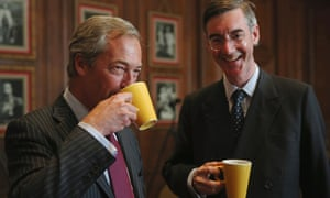 Farage with fellow Brexiteer Jacob Rees-Mogg