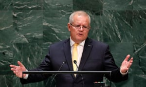 Morrison defends his government's record on climate change to the UN general assembly.