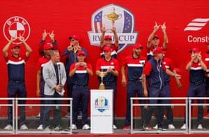Team USA celebrate winning the Ryder Cup.