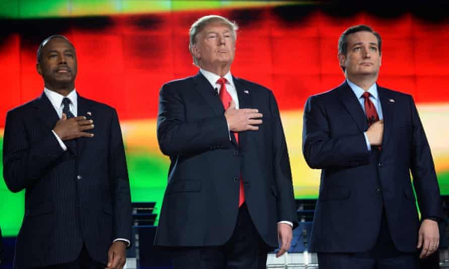 Ben Carson, Donald Trump and Ted Cruz at the Republican debate