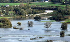 Fields covered in flood water after Storm Callum passed through Carmarthen, west Wales