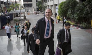 Andy Hall arrives at court in Bangkok.