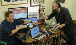 Phil Lucas and Phil Jerrod recording the Ultimate Scrutiny podcast.