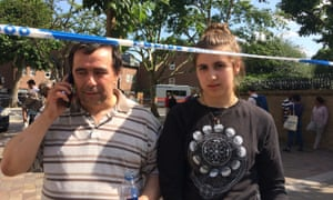 Ines Alves with her father Miguel, on the morning her family were forced to flee the fire at Grenfell Tower.